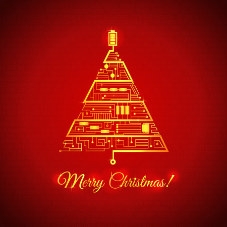 greeting card with the Christmas tree in the form of the motherboard circuitry
