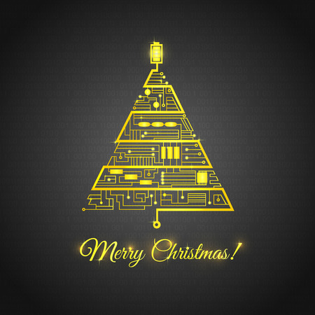 greeting card with the Christmas tree in the form of the motherboard circuitry Vector