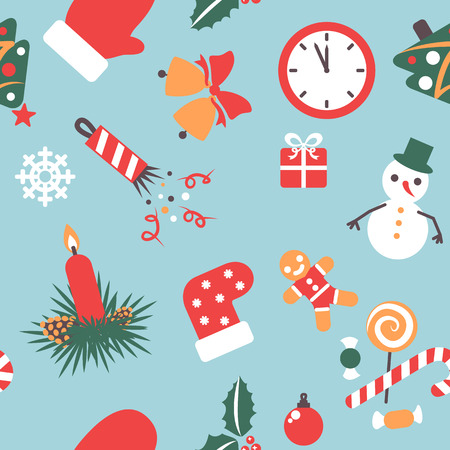party poppers: seamless pattern christmas background with icons symbolizing the new year