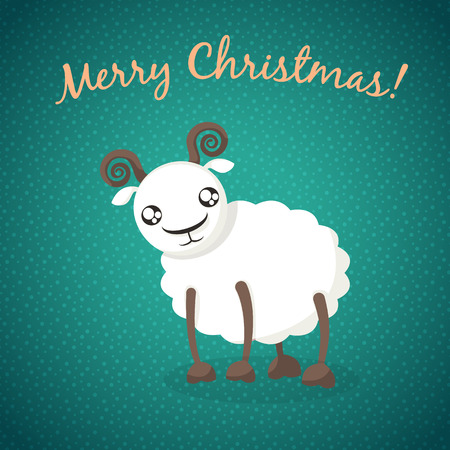 Christmas background with sheep, cute sheep on New Year card Vector