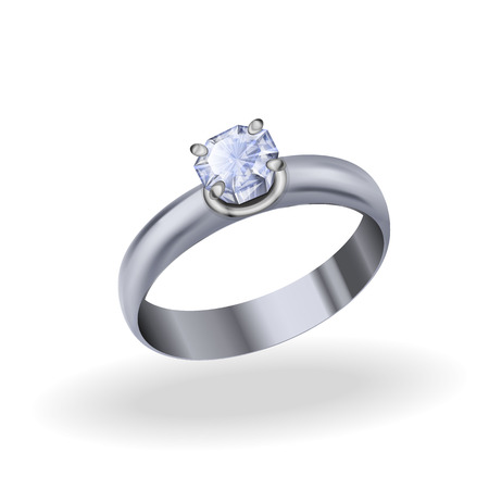 zircon: Silver ring with cubic zirconia, jewelry white gold with diamond on a white background