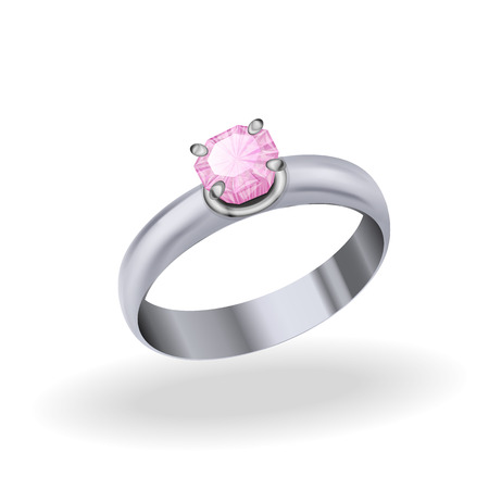 rubellite: silver ring with sapphire, jewelry white gold with blue stone on a white background