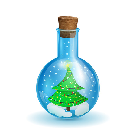 chemical flask with a Christmas tree in the form of a snow globe on a white background