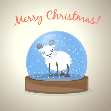 glass snow globe with cartoon sheep, New Year greetings background