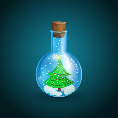 Christmas background, chemical flask with a Christmas tree in the form of a snow globe on a dark background