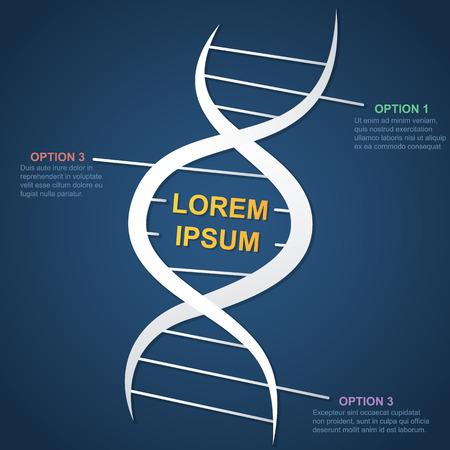 marco en forma de una espiral genética de ADN estilizada blanco sobre un fondo azul