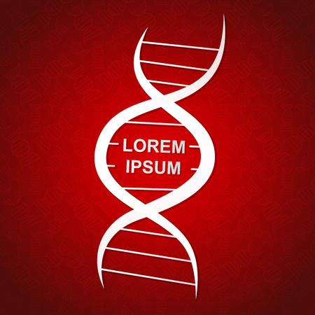 frame in the form of a stylized DNA genetic white spiral on red background Stock Illustratie