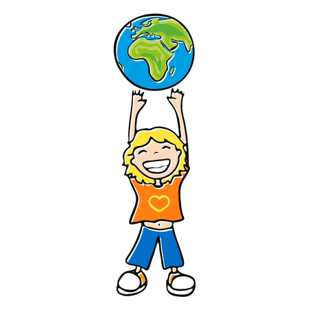 blond boy with his hands up, a little kid with a broad smile pulls his hands up to the globe on a white background Vector