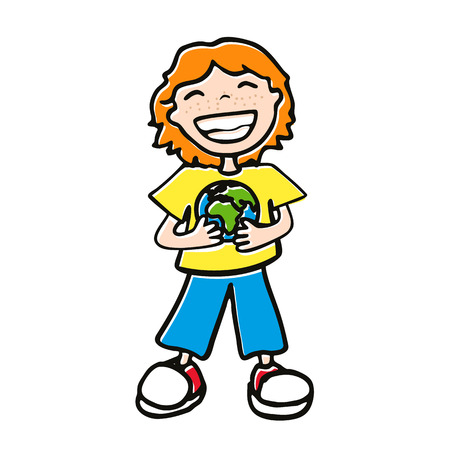 red-haired boy holding a globe, a little kid with a big smile and a T-shirt with a globe on a white background Vector