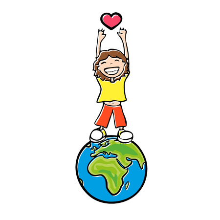 boy standing on the globe, the small child with a big smile pulls his hands up to the heart