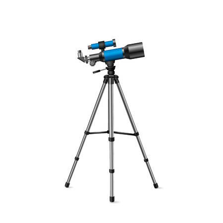 speculum: realistic vector blue telescope on a tripod silver on a white background Illustration
