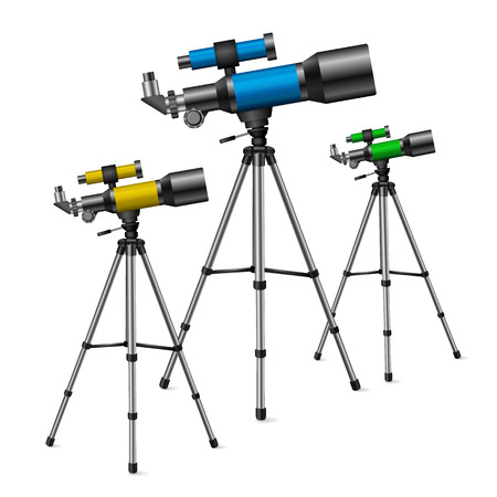speculum: realistic vector telescope, a set of three colored telescopes on a white background