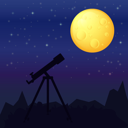 night landscape with a telescope in the foreground and the silhouette of the mountains, moon and stars