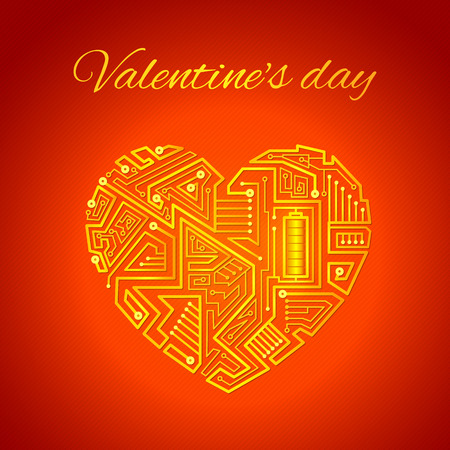 tangle of wires in the form of the heart, the motherboard of the gold wires on a red background, greeting card for Valentines day Vector