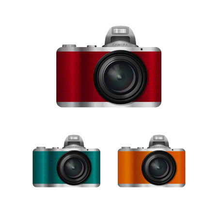 compact camera: camera with interchangeable lens, compact camera color set, the camera with leather trim in retro style on a white background