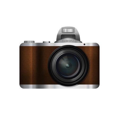 slr camera: SLR camera in retro style, vector image realistic camera with leather trim