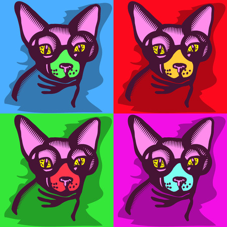 andy warhol: portrait of a cat picture of a cat sphinx with glasses on four different colored squares