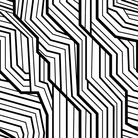 stripe texture: seamless pattern, geometric pattern, art deco with intertwined stripes, black and white Illustration