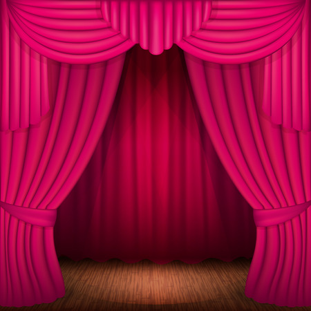 portiere: scene with pink curtains, curtain velvet drapes and accent lighting Illustration