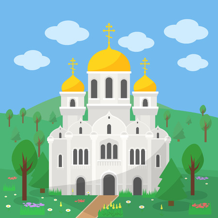 church building: Orthodox Church, the image of the church with gold domes on the background of the rural landscape Illustration