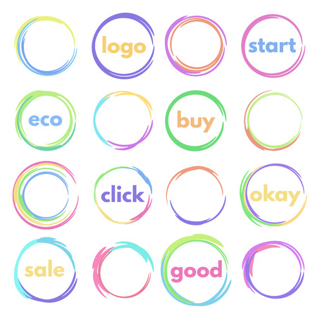 roundish: set of logos circular, colorful round buttons, blank icons
