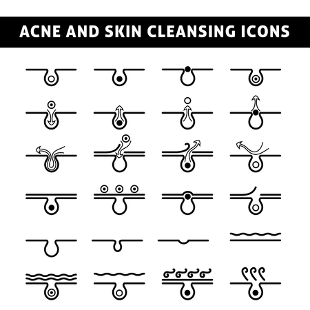 piel: blanco y negro icono de acné, vista esquemática de un cuidado de la piel, la piel del problema con el acné en la sección