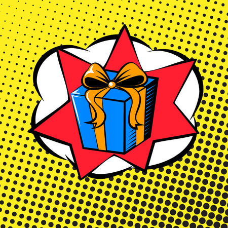 background in the style of pop art with a surprise gift