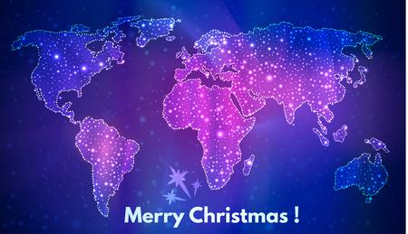 estrellas moradas: mapa del mundo, un fondo festivo de los continentes contorno estelares, felicitaciones navideñas Vectores