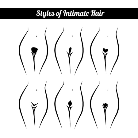 naked woman: scheme of hair removal bikini zone, intimate haircut