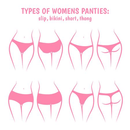 Various women panties, underpants views front and rear