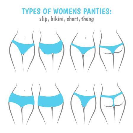 simbolo de la mujer: Varias mujeres de las bragas, calzoncillos vistas frontal y trasera