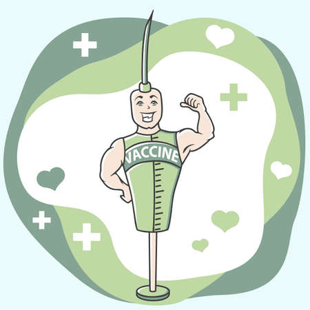 drawn character man in the form of an injection, vaccine