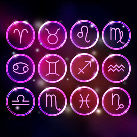 zodiac signs set, round icons on purple background, horoscope symbols neon shiny