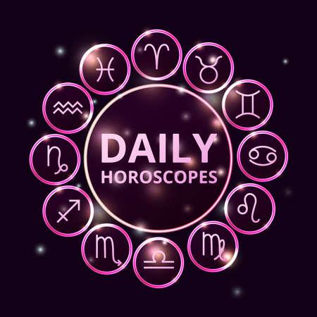 zodiac signs collection, round horoscope symbols icons shining on dark background Illustration
