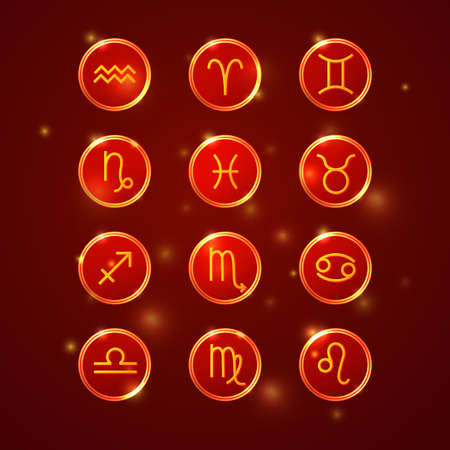 zodiac signs collection, round horoscope symbols icons