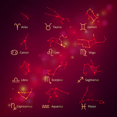 set of constellations of the horoscope, signs of the zodiac
