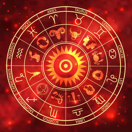 wheel of the signs of the zodiac, figures and symbols of the horoscope