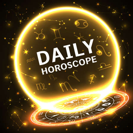 background with glowing circle, horoscope fire signs Illustration