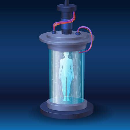 sci-fi teleport with human body silhouette, cryo hibernation camera