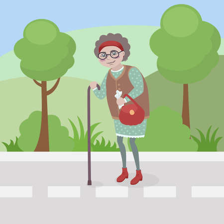 grandmother walks against the background of nature, in her hand she has a bag and a handkerchief, the pensioner leans on a cane Illustration