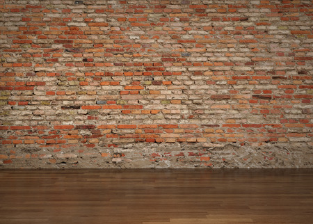 brick wall - parquet floor - living room - interior photo