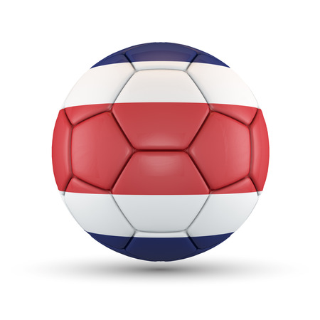 Soccer ball with Costa Rica flag isolated on white. photo
