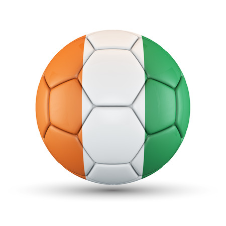 Soccer ball with Cote D Ivoire flag isolated on white  Stock Photo - 28016894