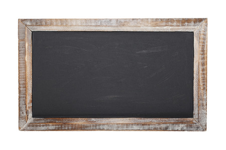 An old blank chalkboard isolated on white background  photo