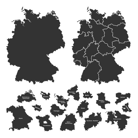 Details of german map with region borders on white background photo