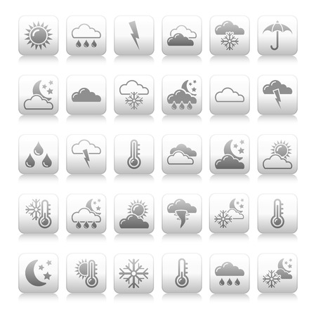 Illustration of weather icons on white background  illustration