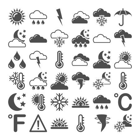Illustration of weather icons on white background   illustration