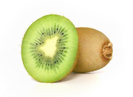 Sliced kiwi on white background photo
