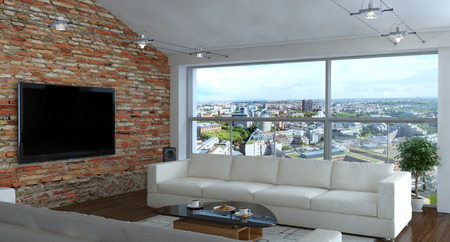 Interior of living room with brick wall photo