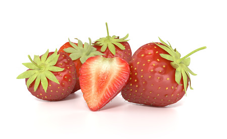 render of red ripe strawberries on white background photo